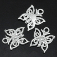 10 x Antique Silver Butterfly Charm Pendants